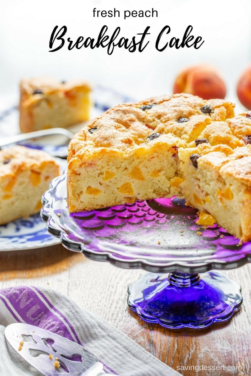 Fresh Peach Breakfast Cake - an easy to make treat with a rich, moist sour cream batter, sweet crispy top and loads of delicious fresh peaches. Perfect for breakfast, brunch or afternoon tea! #breakfastcake #peachcake #brunch #breakfast #peach #peachdessert #sourcreamcake #pechbreakfastcake