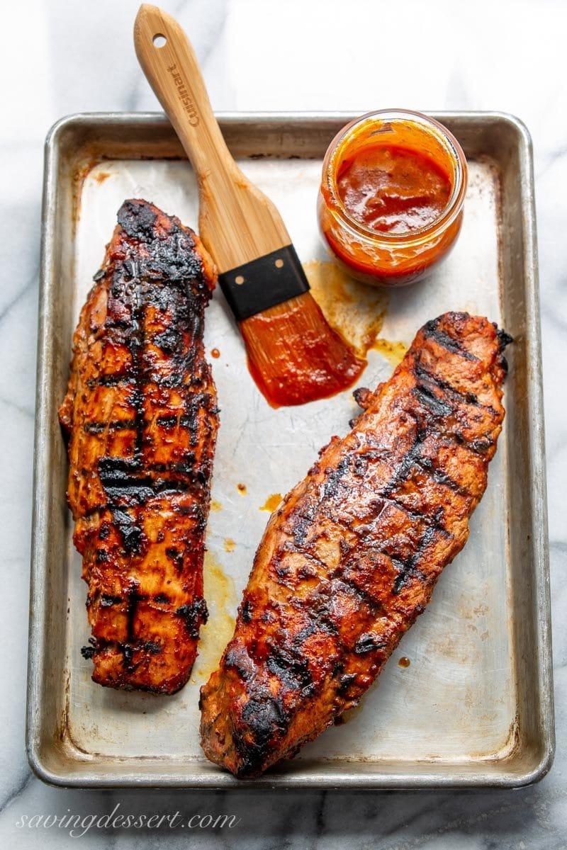 Grilled Pork Tenderloin with BBQ sauce