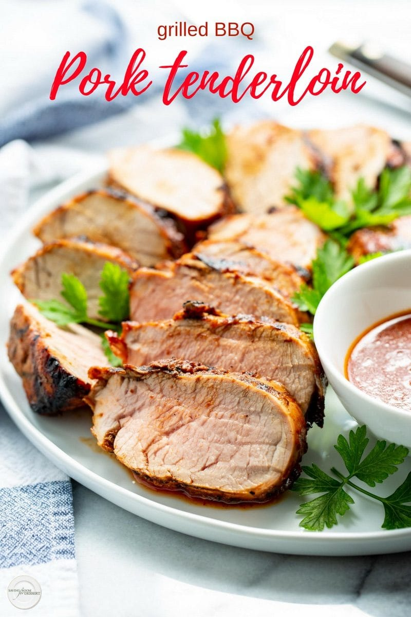 Grilled BBQ Pork Tenderloin - marinated in a our homemade sweet and spicy Honey BBQ Saucethen grilled to juicy perfection, this simple main course is a summer staple #easydinner #easygrilled #grilled #grilling #pork #porktenderloin #tenderloin #BBQpork #BBQtenderloin #barbecue