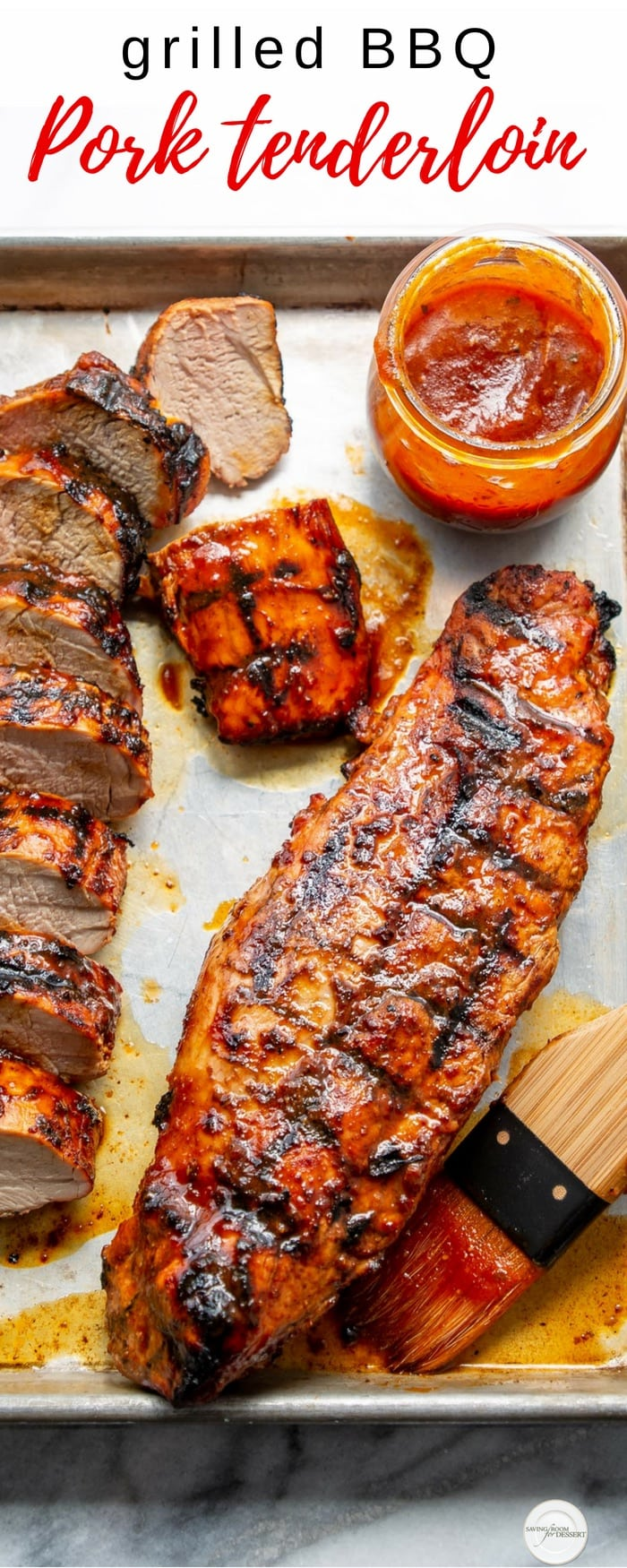 Grilled BBQ Pork Tenderloin - marinated in a our homemade sweet and spicy Honey BBQ Sauce then grilled to juicy perfection, this simple main course is a summer staple #easydinner #easygrilled #grilled #grilling #pork #porktenderloin #tenderloin #BBQpork #BBQtenderloin #barbecue