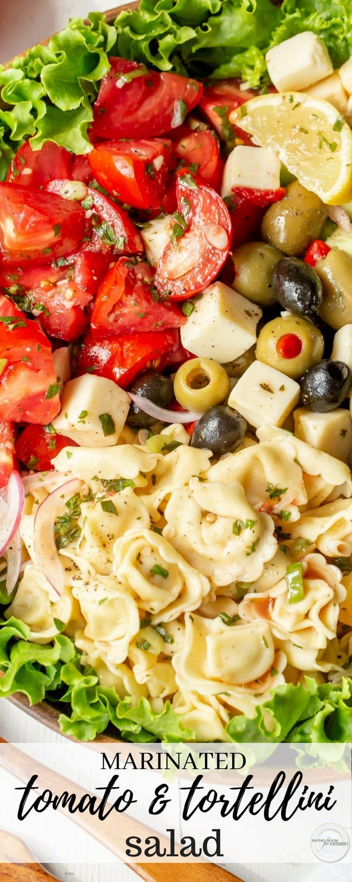 Marinated Tomato & Tortellini Salad with cucumbers, onion, olives, avocado, cheese and fresh garden herbs. Don't forget the crusty bread to soak up all the juices! #savingroomfordessert #salad #tortellini #tomatoes #heartysalad #tomatorecipes #tomatosalad