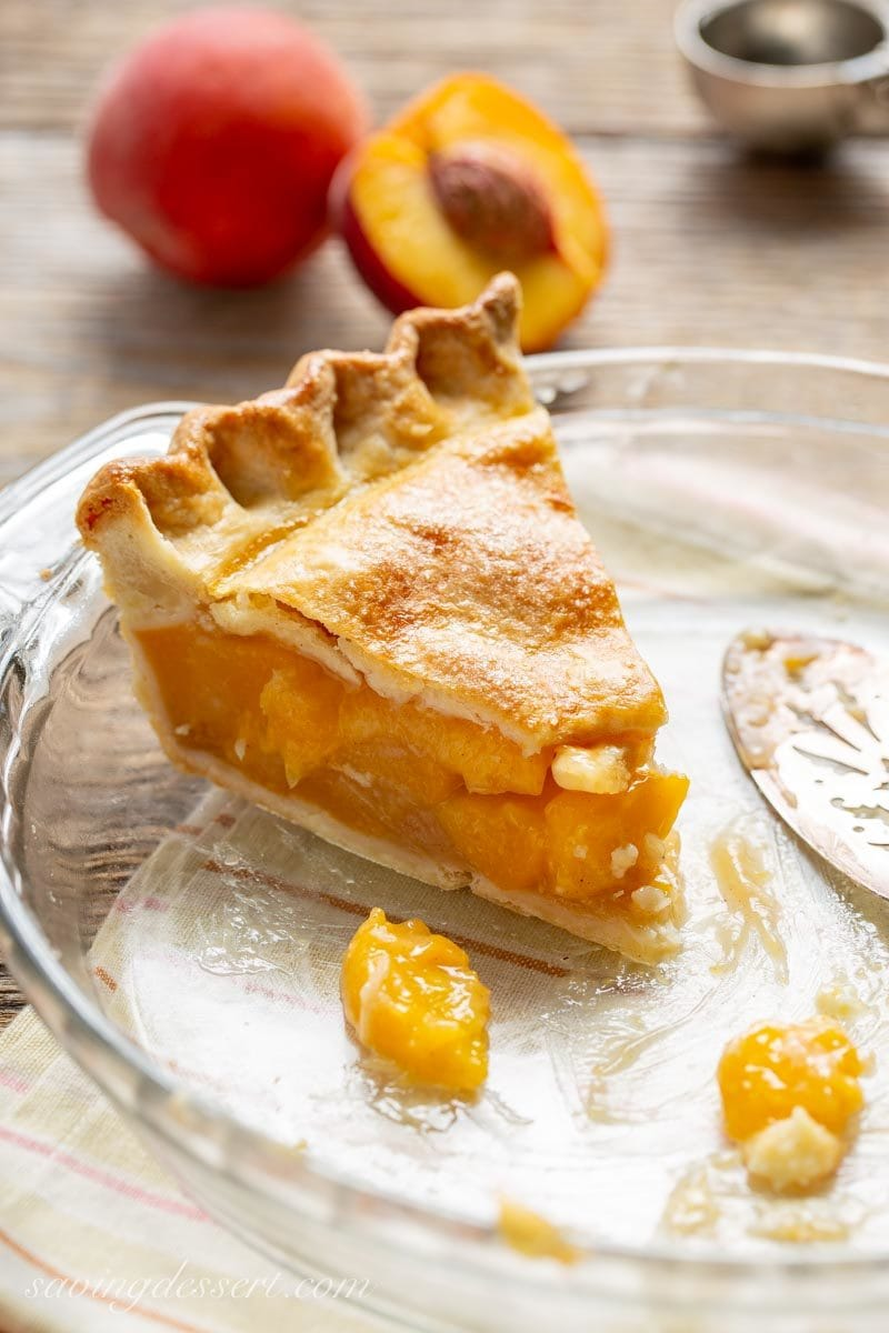 A slice of Old Fashioned Fresh Peach Pie