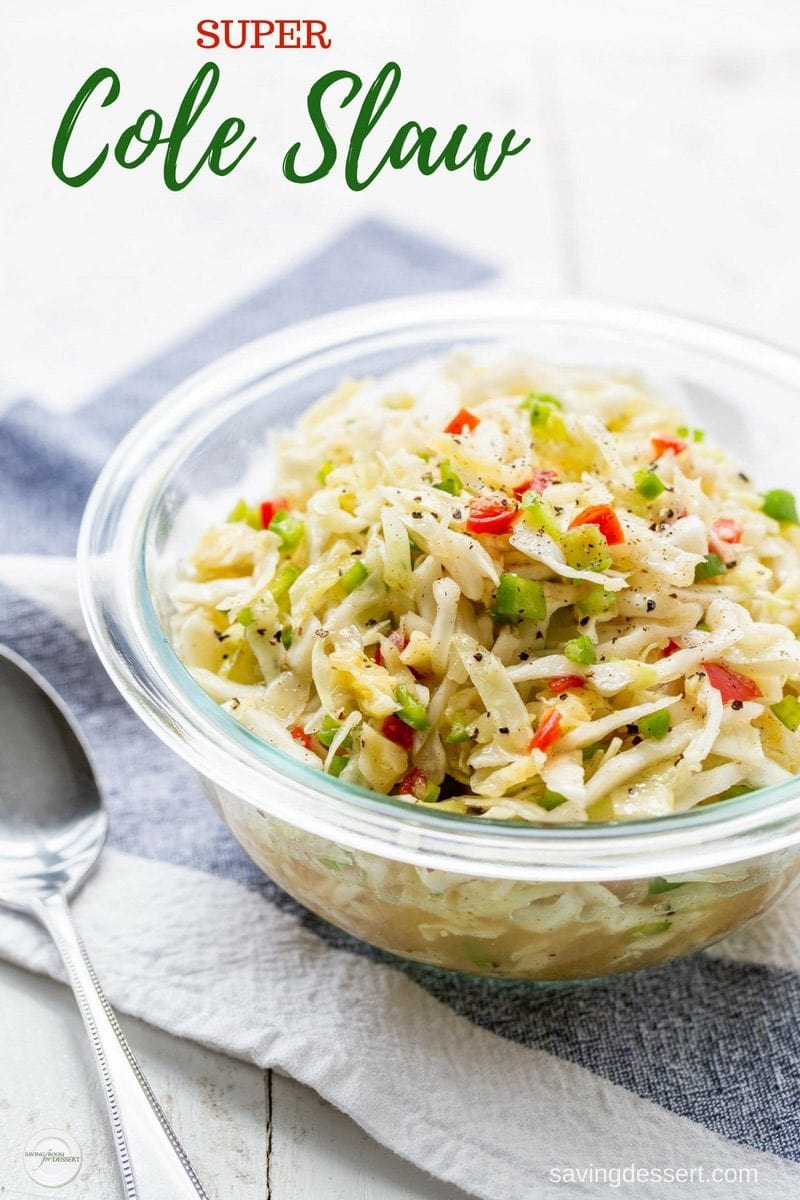 Super Cole Slaw - enjoy this mayo-free simple slaw with a nice bite from the cider vinegar and plenty of flavor from pimentos, onion and chopped green pepper. #savingroomfordessert #coleslaw #mayonnaisefreecoleslaw #vinegarcoleslaw #cabbageslaw #easyslaw #supercoleslaw