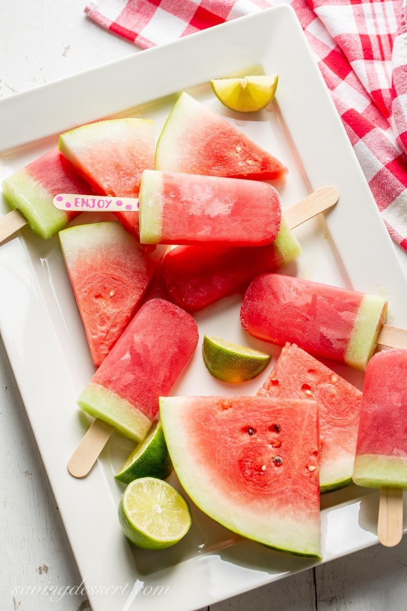 Watermelon Popsicles with lime