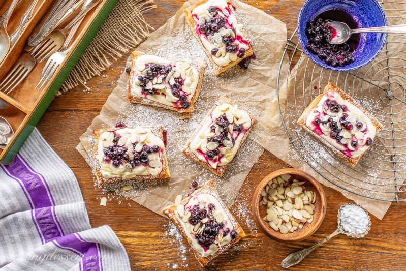 Blueberry Puff Pastry Tarts with Lemon Cream and almonds