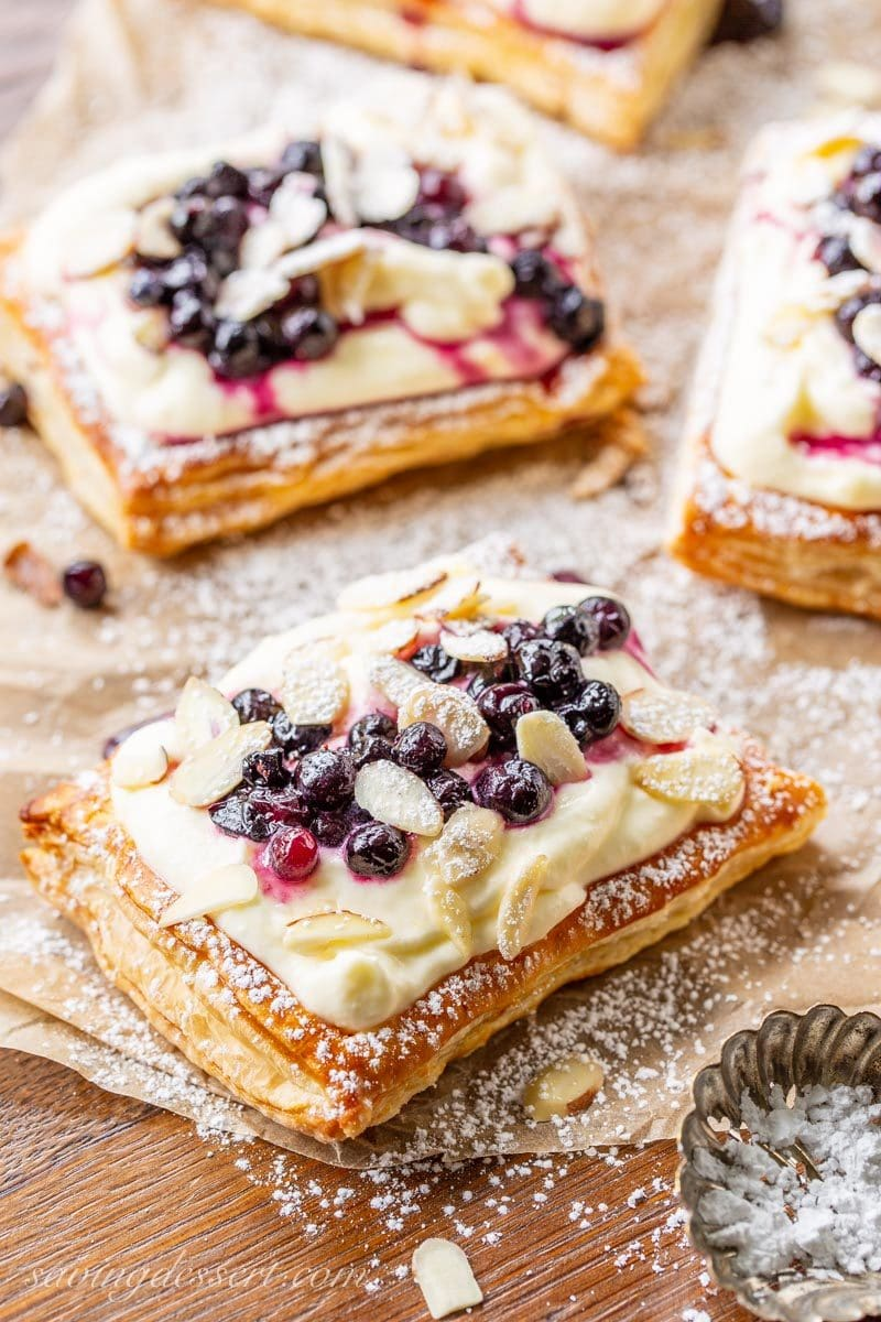Blueberry Puff Pastry Tarts with Lemon Cream - Saving Room ...