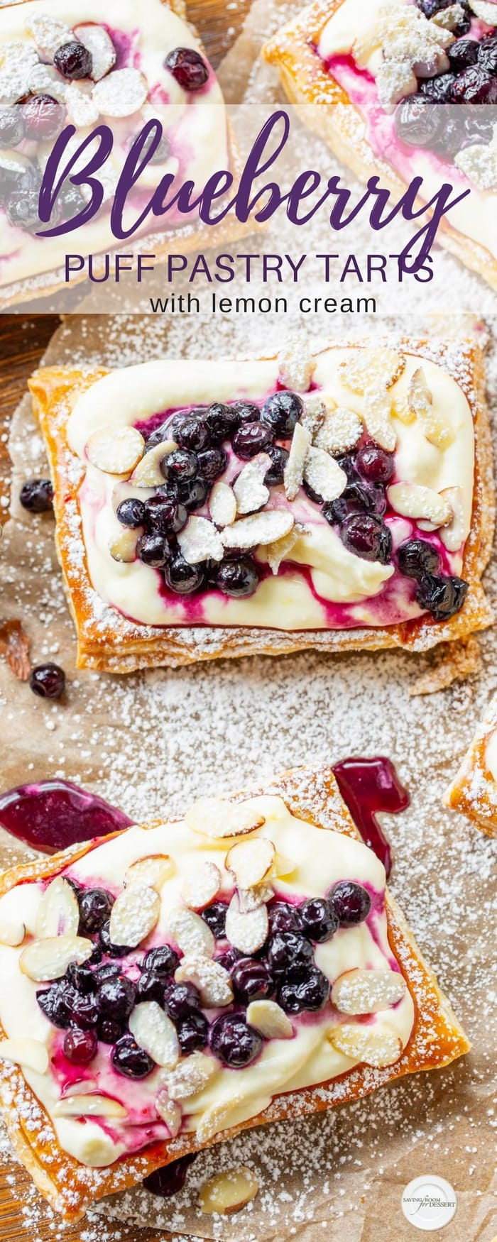 Blueberry Puff Pastry Tarts with Lemon Cream - a light and flavorful company worthy dessert that's easily made ahead and assembled just before serving. #savingroomfordessert #puffpastrytart #puffpastry #blueberrytart #lemoncurdtart #tart #pastrytart #lemonblueberrytart #easydessert
