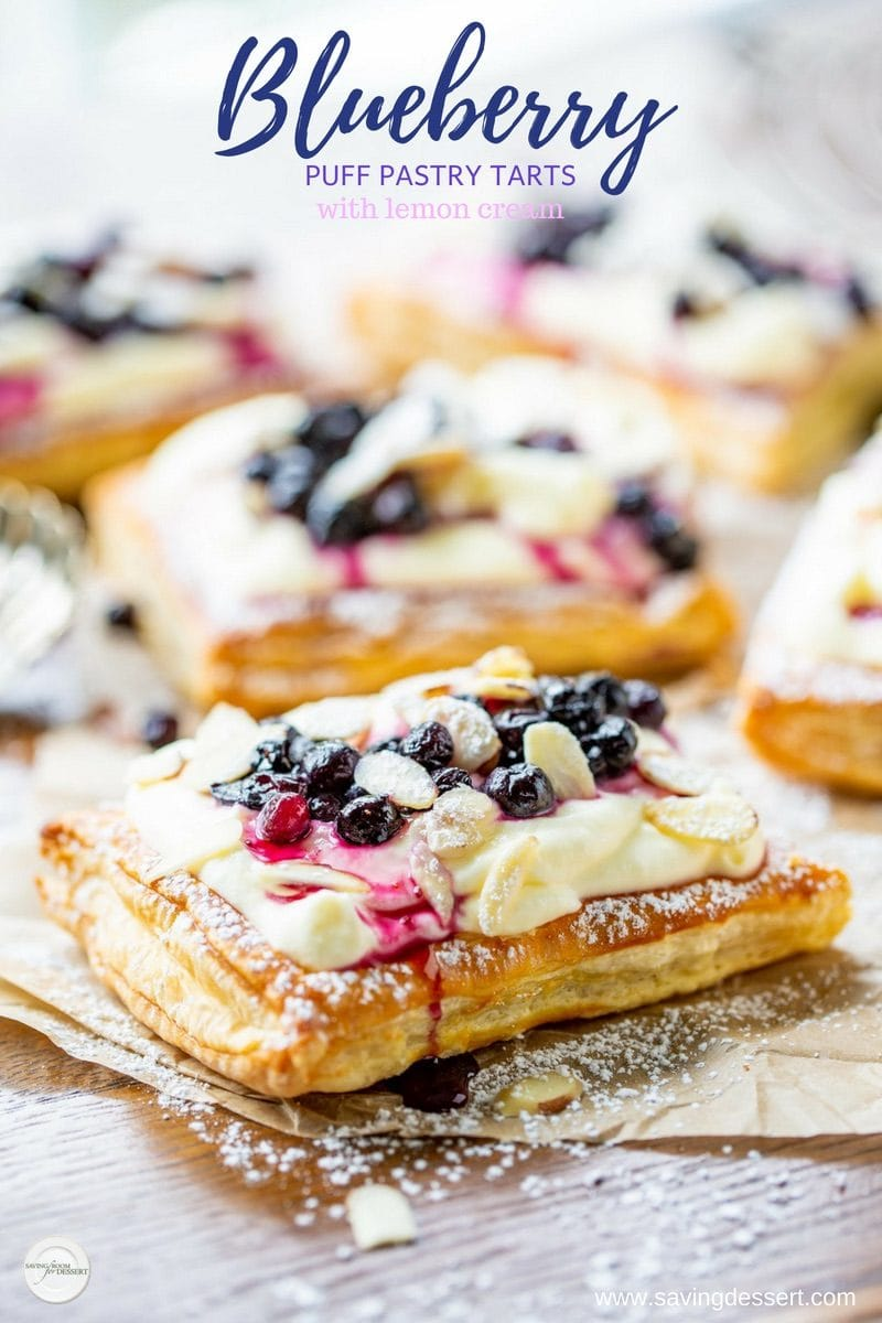 Blueberry Puff Pastry Tarts With Lemon Cream Saving Room
