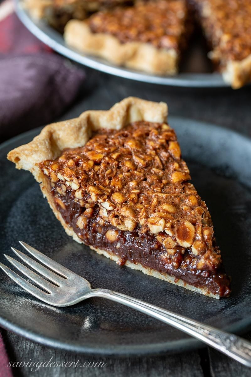 A slice of chocolate peanut pie