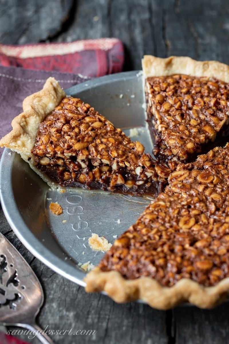 Chocolate Peanut Pie sliced
