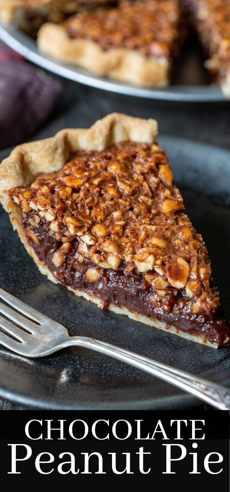 A slice of chocolate peanut pie on a plate
