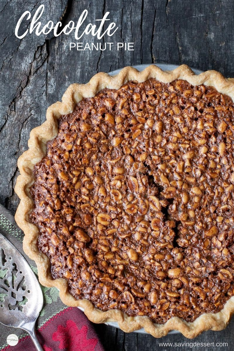 Chocolate Peanut Pie - this easy to make pie is fudgy and rich, with a little salty note from the dry-roasted peanuts. If you love chocolate and peanuts, you will LOVE this pie! #savingroomfordessert #peanutpie #chocolatepie #chocolatepeanutpie #pie #peanut #chocolatepeanut