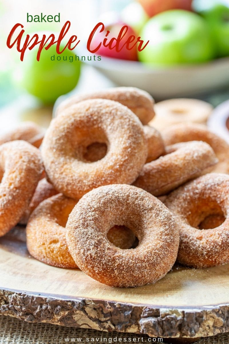 Baked Apple Cider Doughnuts - these light and spongy cinnamon sugar coated Apple Cider Doughnuts are so delicious, bet you can't eat just one! #savingroomfordessert #donuts #doughnuts #appleciderdoughnuts #appleciderdonuts #applecider #bakeddoughnuts #bakeddonuts