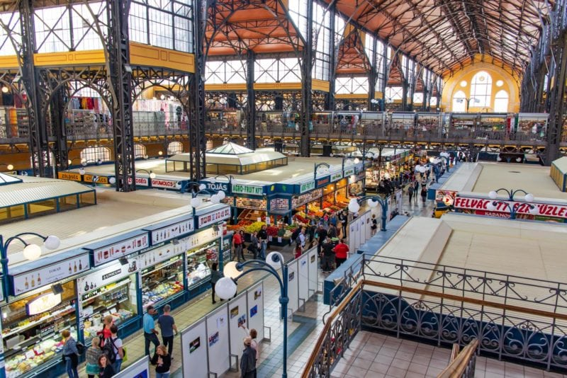 A photo from the second floor of the Great Market Hall in Budapest Hungary