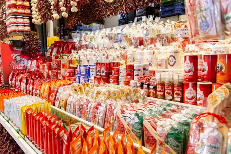 A display of paprika from the Great Market Hall in Budapest Hungary