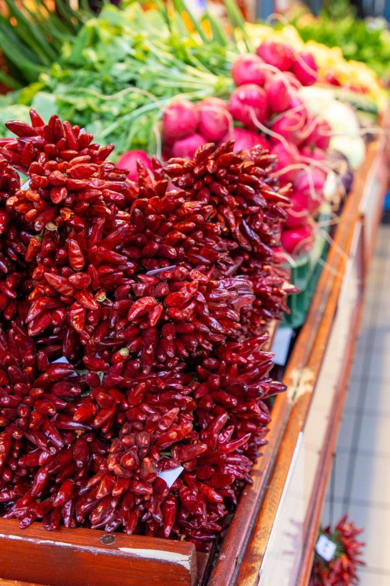 Red peppers and produce from the Great Market Hall in Budapest Hungary