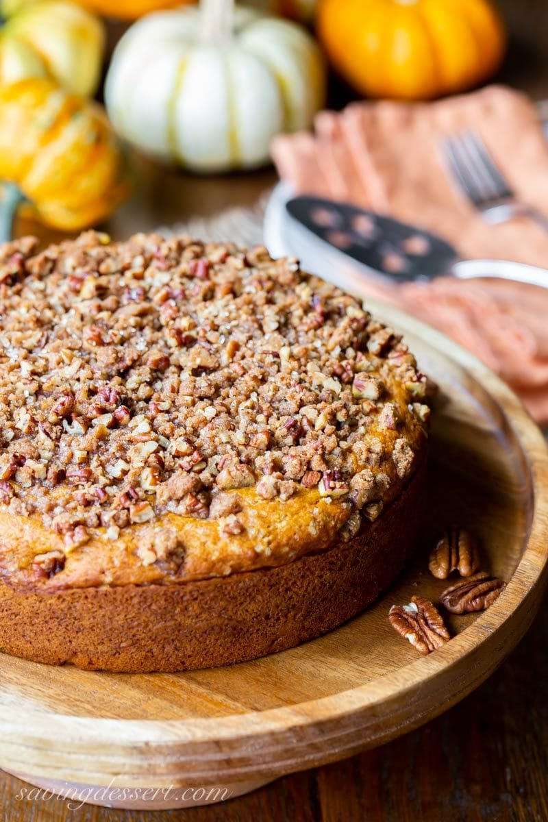 Pumpkin Breakfast Cake topped with a sweet Pecan Crumble