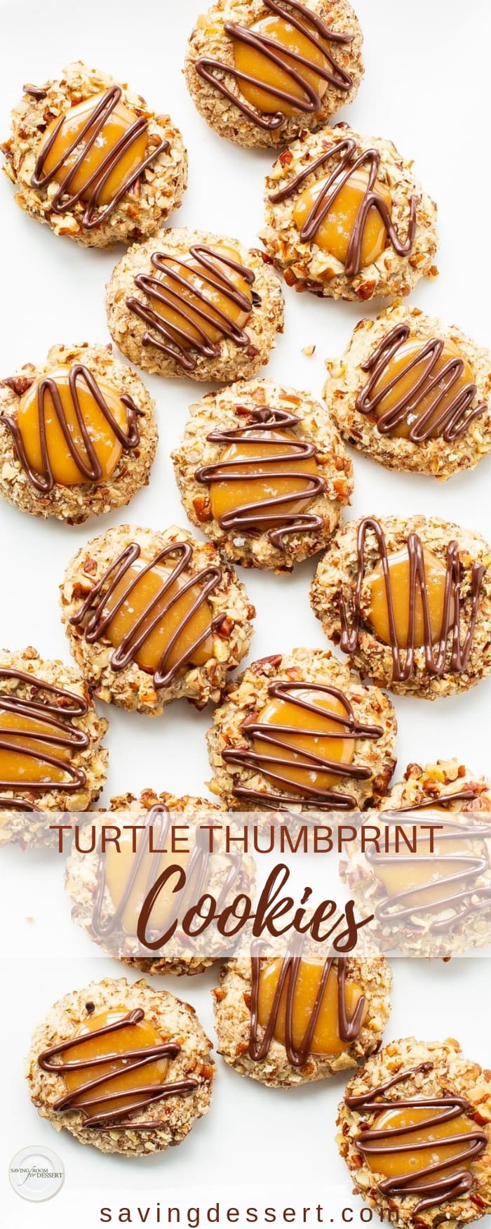 Turtle Thumbprint Cookies - deliciously nutty cookies with a smooth, creamy dollop of sweet caramel on top and a drizzle of yummy chocolate - cookie heaven! #savingroomfordessert #turtle #turtlecookies #thumbprints #thumbprintcookies #cookies #baking #turtlethumbprint