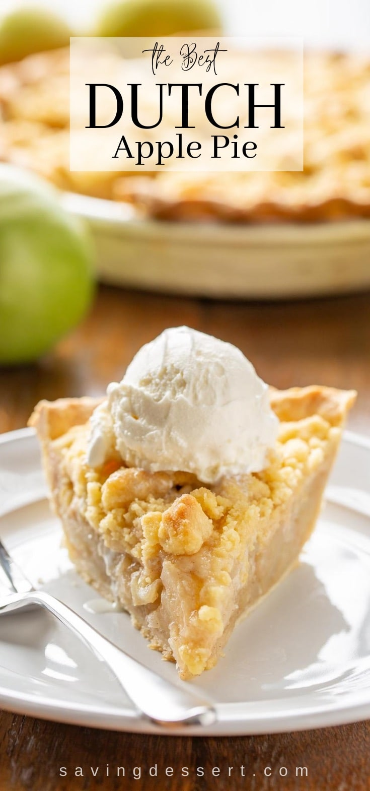 A slice of apple pie with a crumble top on a plate topped with vanilla ice cream