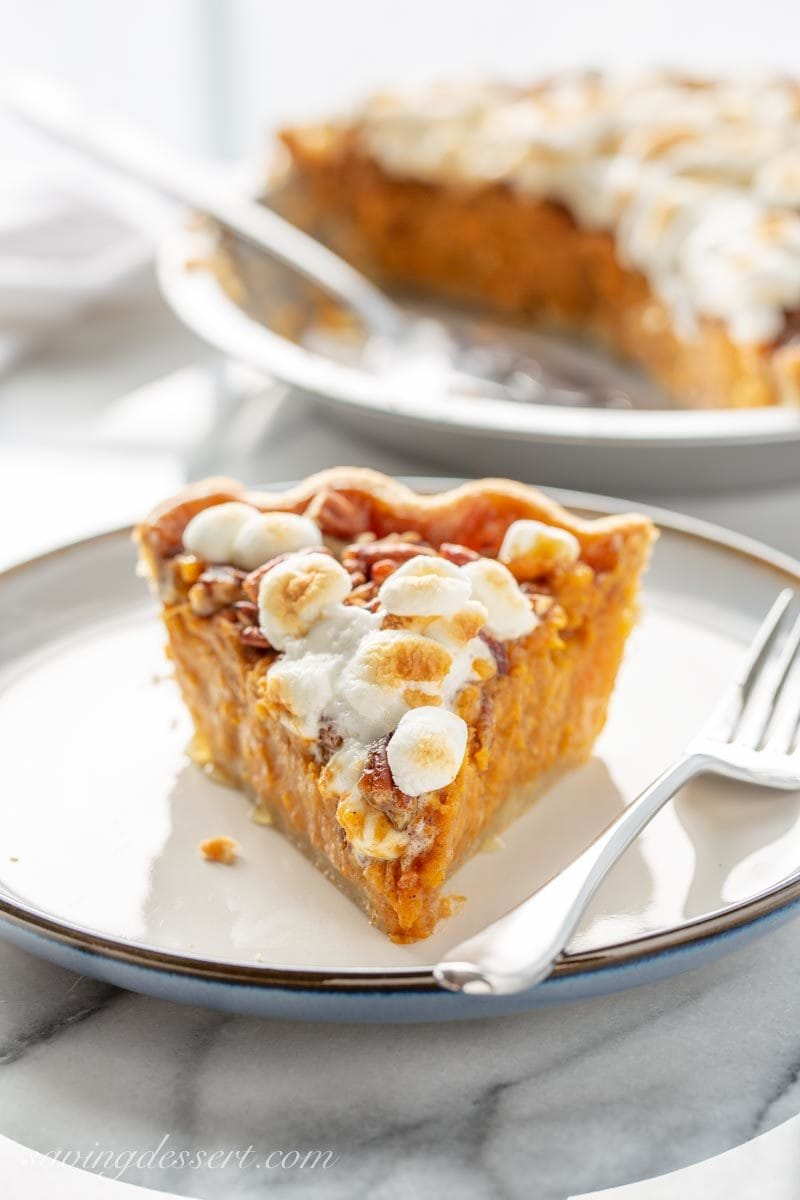 Sweet potato pie with a praline pecan topping and toasted marshmallows