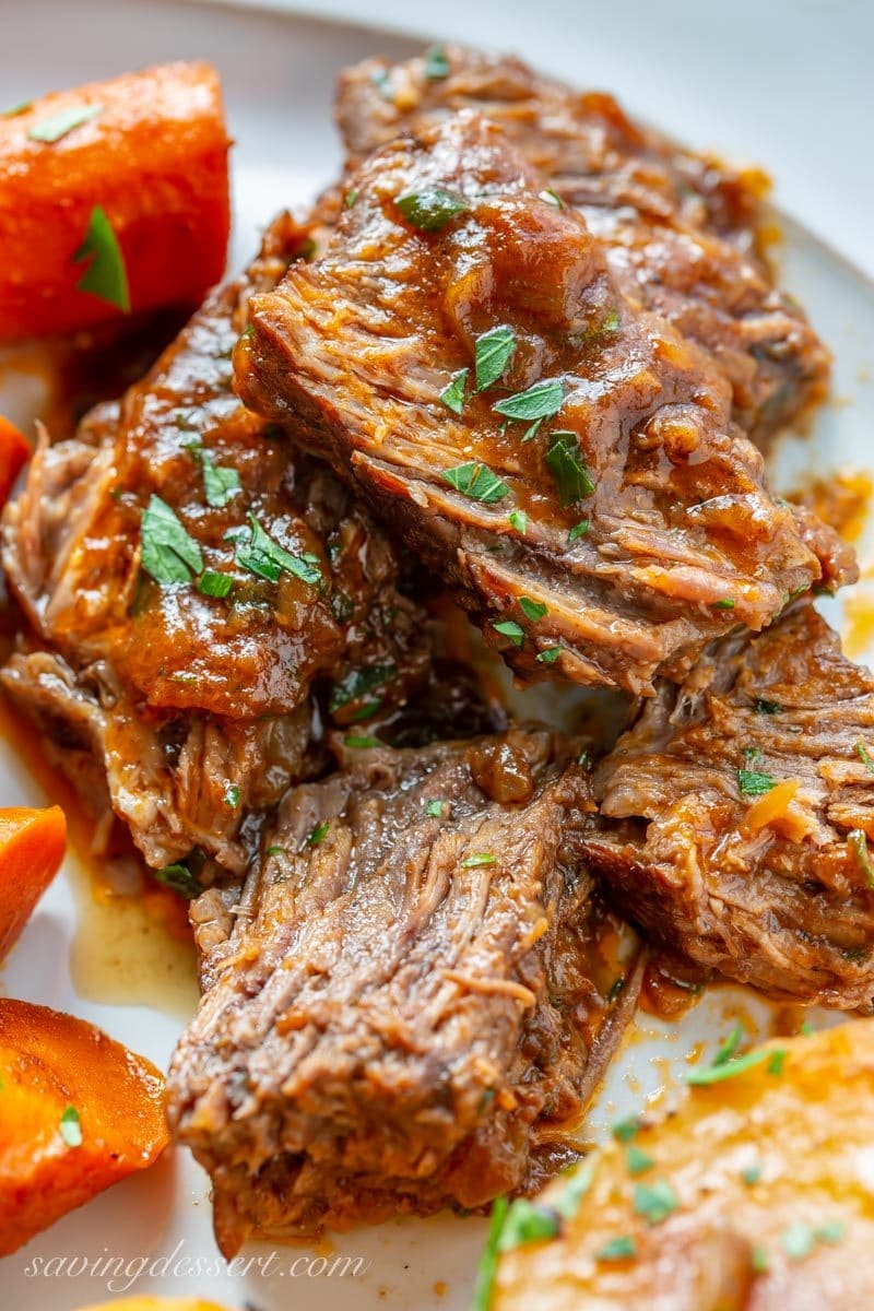 Juicy chunks of oven-braised pot roast with potatoes and carrots