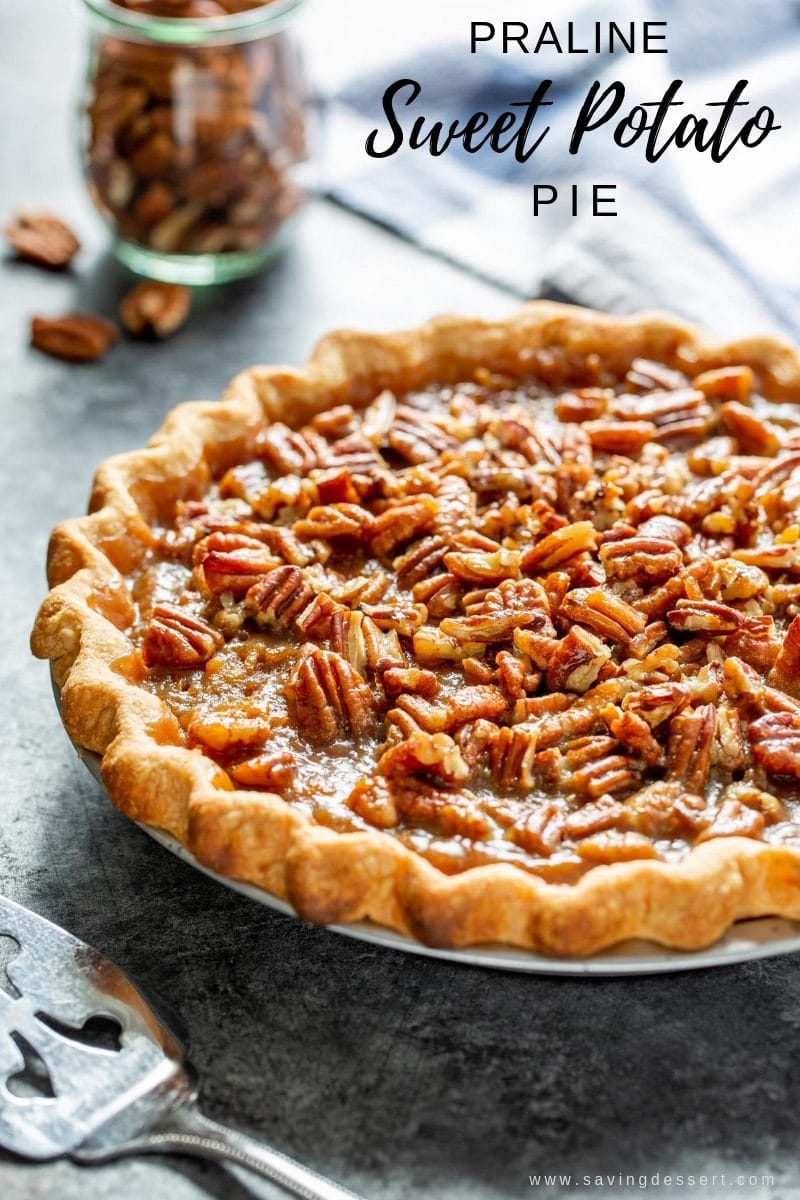 Sweet potato pie with praline pecan topping