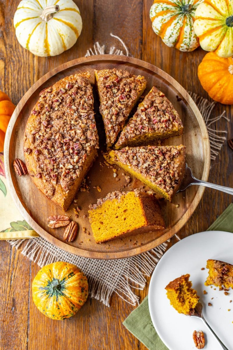 Sliced Pumpkin Breakfast Cake with pecan crumble topping
