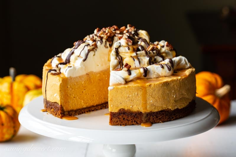 Pumpkin Cheesecake With Turtle Topping Saving Room For Dessert
