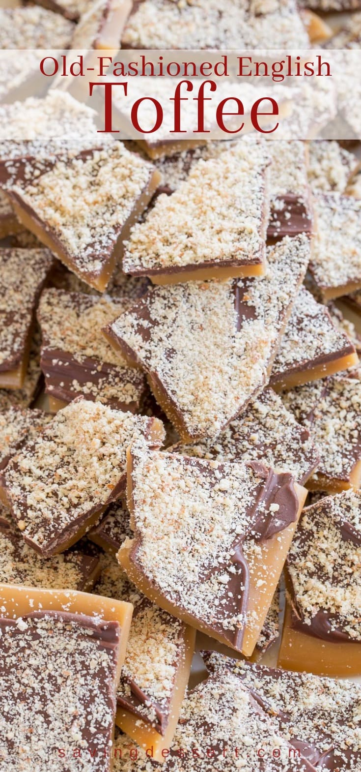 A tray of old fashioned English style Toffee topped with grated nuts