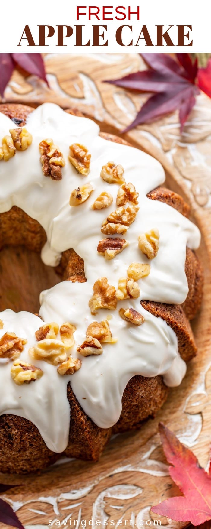 Everybody loves a Fresh Apple Cake loaded with a generous helping of cinnamon, nuts and apples. This cake has a fantastic moist and tender texture, and a lightly crisp exterior. This heirloom recipe has been a family favorite for generations and isa delicious Autumn treat!#savingroomfordessert #applebundtcake #applecake #applecakerecipe #apple #bundt #baking #bundtcake