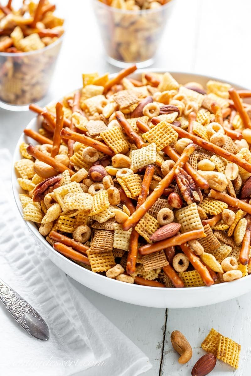 A big bowl of Chex Party Mix with pretzels