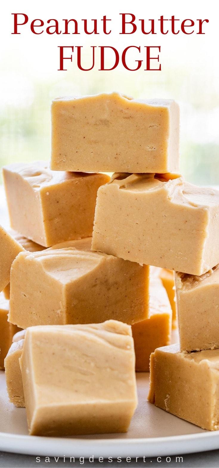 A stack of creamy peanut butter fudge