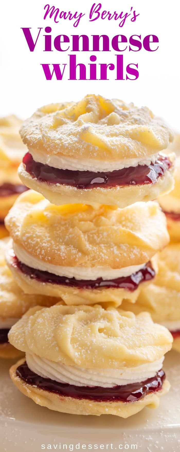 Mary Berry's Viennese Whirls - enjoy these delicious, tender melt-in-your-mouth butter cookies slathered with raspberry jam and a light vanilla buttercream filling. #savingroomfordessert #Viennesewhirls #cookies #holidaybaking #raspberryjamcookies #buttercookies #Maryberry #whirls