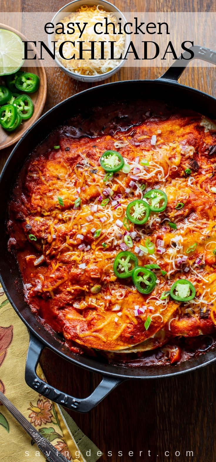 Easy Chicken Enchiladas Recipe is quick, flavorful and satisfying, with smoky heat from the chipotle peppers in adobo sauce. #enchiladas #chickenenchiladas #easydinner #30minutemeal #enchiladarecipe #mexicanfood #texmex