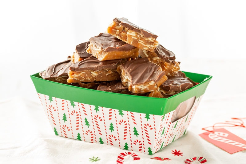A basket of homemade Almond Roca Toffee Candy