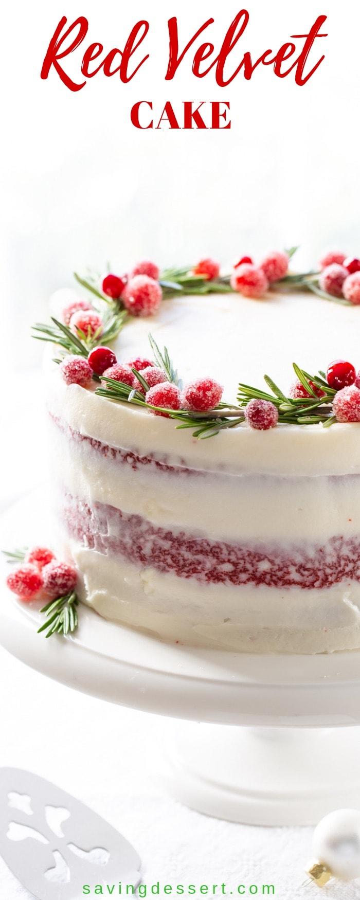 Classic Red Velvet Cake with a delicious tang from the buttermilk, hints of cocoa and a moist, light crumb. And let's not forget the best cream cheese icing on this earth! #redvelvetcake #Christmascake #redvelvetChristmascake #christmasbaking #holidaybaking #holidaycake #cake #bestredvelvetcake #savingroomfordessert