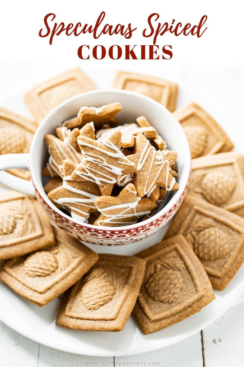 Speculaas Spiced Cookies (Speculoos) delicious, crisp, well spiced shortcrust butter biscuits uniquely flavored with a fragrant blend of warm spices. Make with a mold or cookie cutter. #savingroomfordessert #speculaas #speculoos #spicedcookies #speculaasspiced #cookies #christmas #holidaybaking #cookiemolds