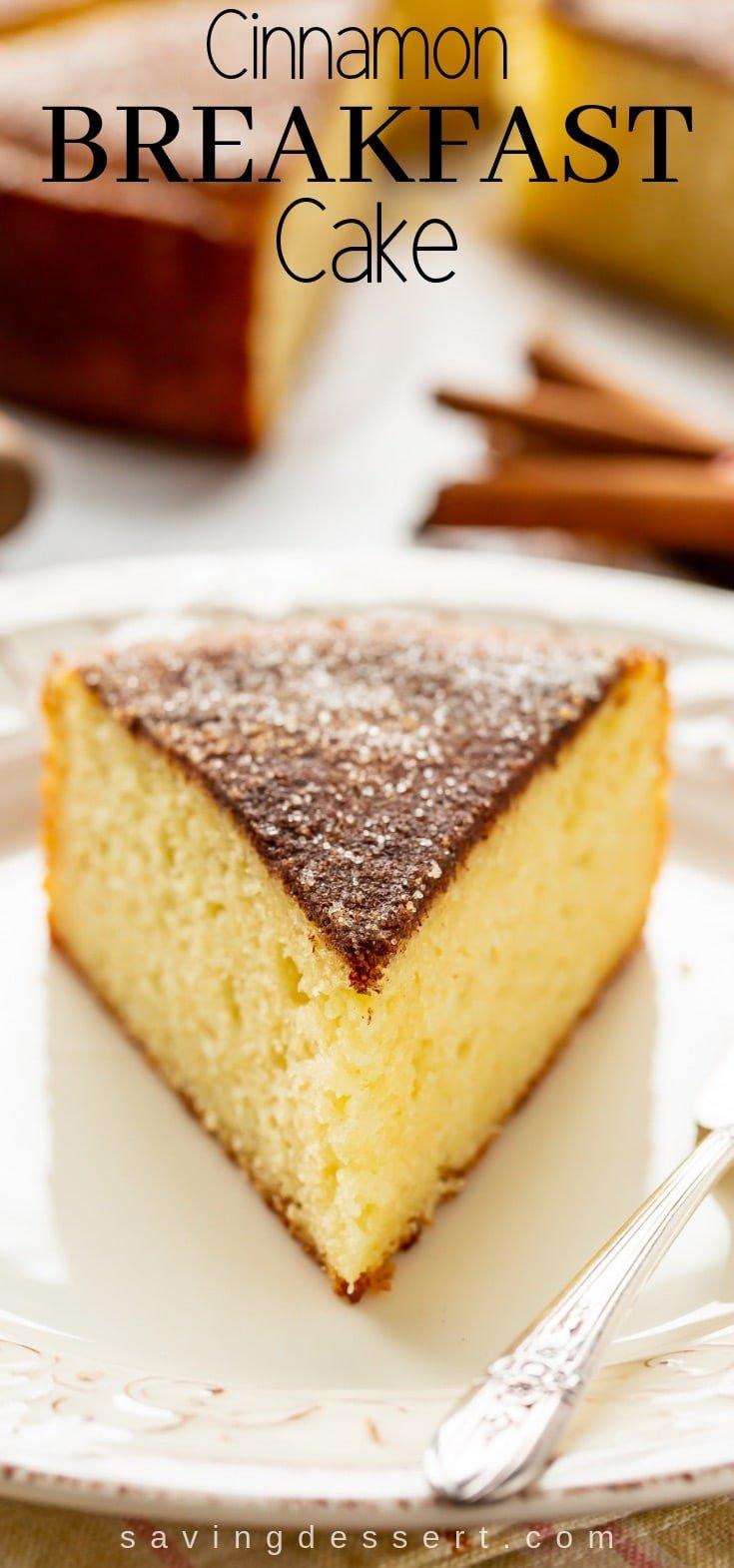 Cinnamon Breakfast Cake - tastes like a big, soft snickerdoodle! #cinnamoncake #cake #breakfastcake #coffeecake #brunch #cinnamonbreakfastcake #easycake #nomixercake #breakfast