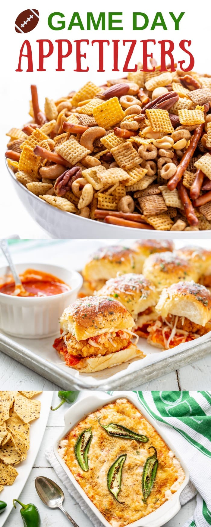Game Day Appetizers and Desserts - Thrill your favorite football fans with plenty of delicious snacking options while cheering from the sidelines. With dips and sliders and a few sweet treats! #gameday #appetizers #footballfood #snacks #partyfood #treats