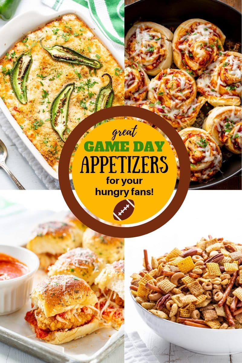 A collage of Game Day Appetizers including sliders, cheese dip, pizza rolls and Chex Mix