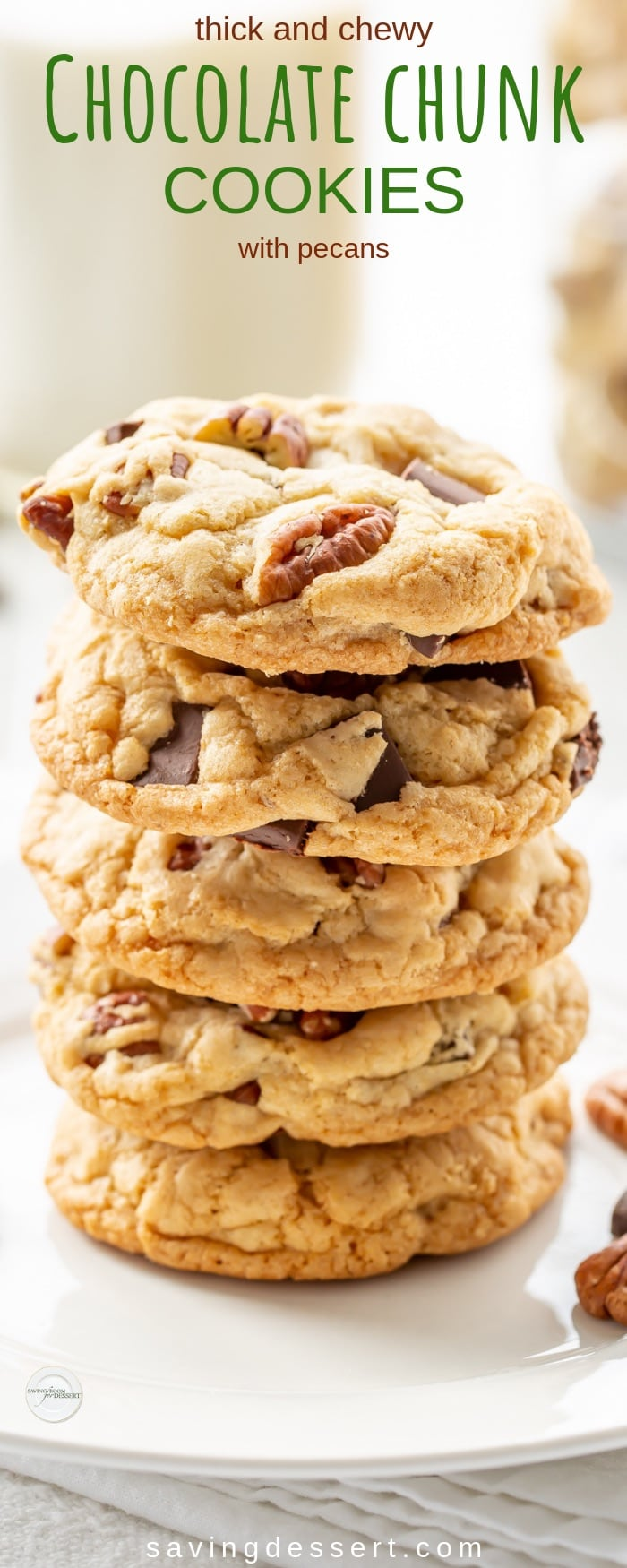 Thick and Chewy Chocolate Chunk Cookies with Pecans - our new favorite cookie recipe! These delicious jumbo-sized cookies rival any you might find in a gourmet bake shop. #savingroomfordessert #cookies #chocolatechunk #chocolatechunkcookies #chocolatepecancookies #thickandchewycookies #baking #cookie #chocolatechipcookie