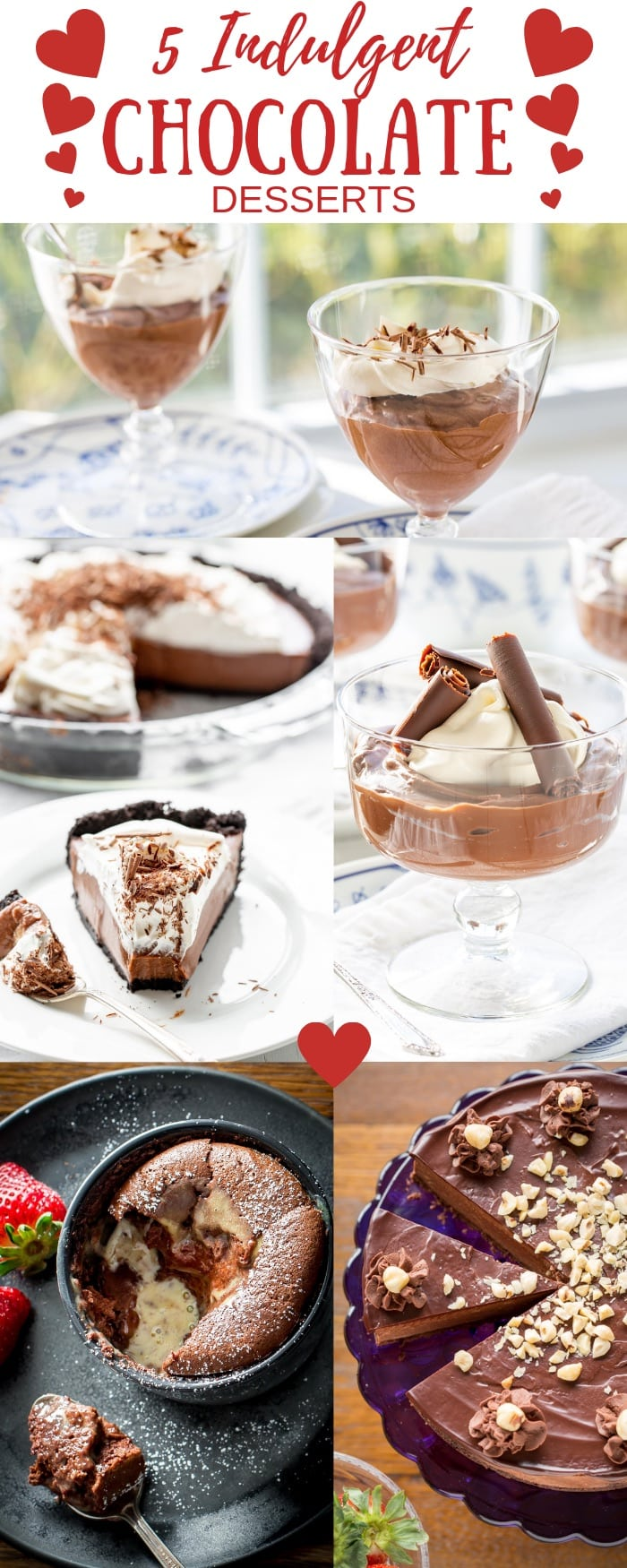 5 Indulgent Chocolate Dessert Recipes for Valentine's Day - Make something utterly luscious for the one you love! #savingroomfordessert #valentinesday #chocolatedesserts #chocolate #lusciousdesserts #valentinedessert