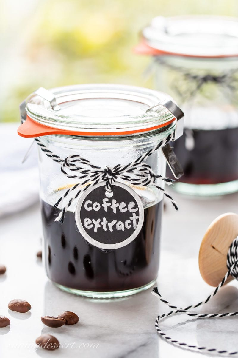 A small jar of homemade coffee extract