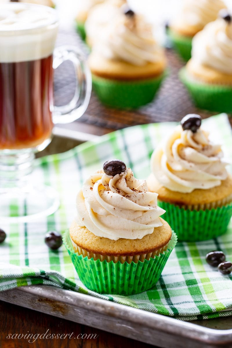 Irish Coffee Cupcakes with swirled icing and an espresso bean on top