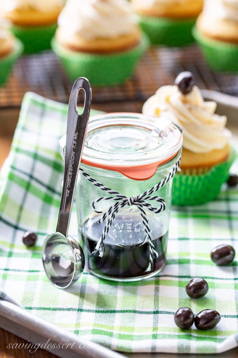 A jar of homemade Coffee Extract with Irish Coffee Cupcakes