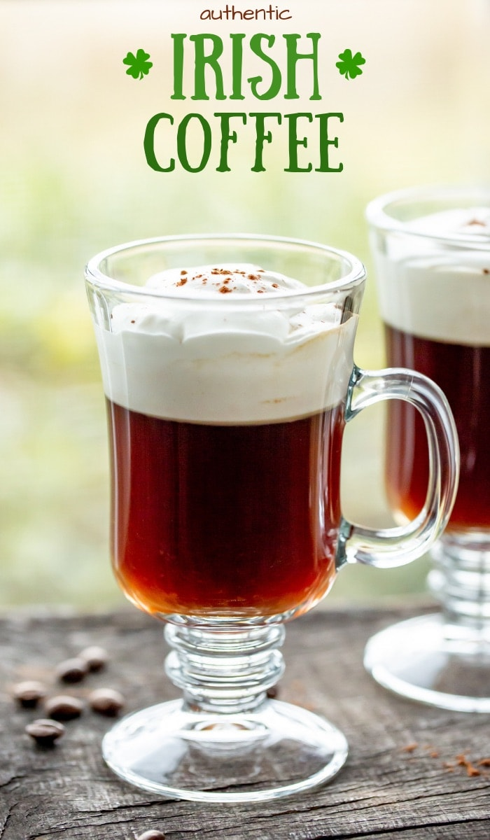 Enjoy a mug of this authentic Irish Coffee Recipe as a nice ending to a great meal, or to 'get-this-party-started' at your St. Patrick's Day celebration! #irishwhiskey #irish #jameson #irishcoffee #coffee #stpatricksday #cocktail