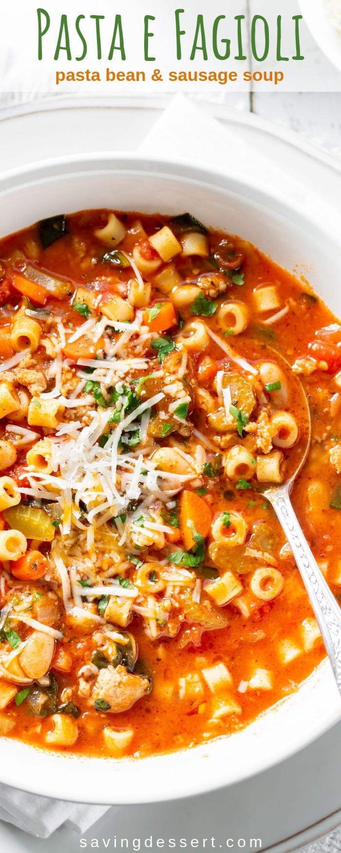 Pasta e Fagioli is a deliciously hearty, stew-like soup loaded with pasta, beans and Italian sausage. Every bite is rich with flavor and plenty of vegetables. #savingroomfordessert #pastaefagioli #italian #italiansoup #pastasoup #pastabeansausagesoup #soup #heartysoup #healthysoup