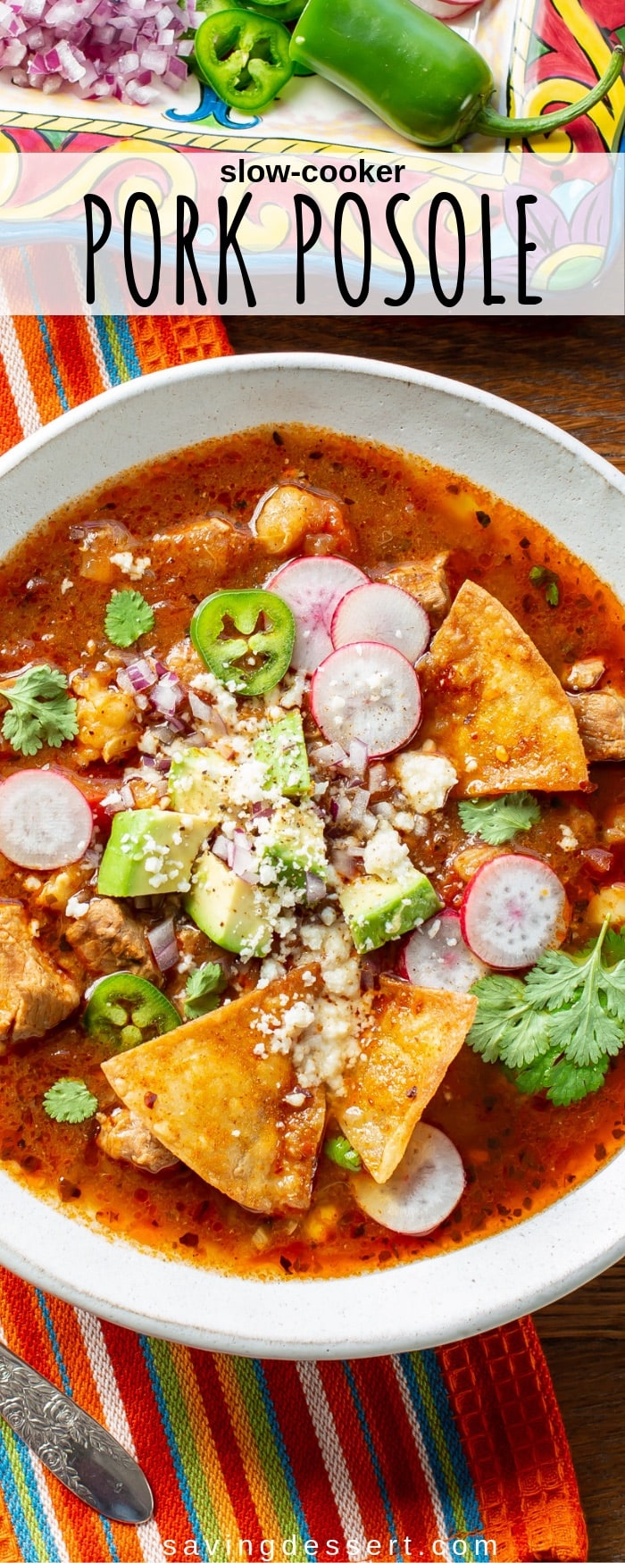 Try this robust Slow-Cooker Pork Posole Recipe next time you have a craving for flavorful, hearty and comforting Mexican soup! #slowcooker #mexicansoup #mexican #pork #posole #soup #hominy #adobo