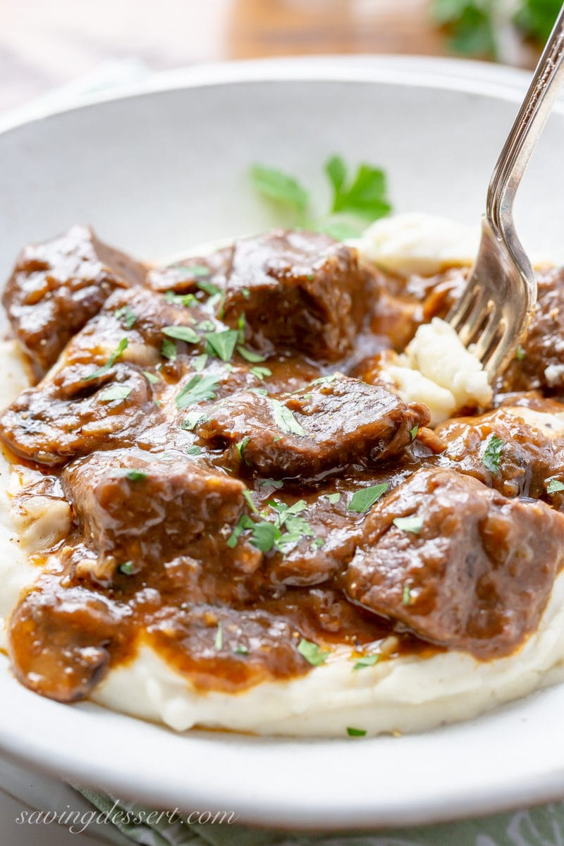 Beef Tips together with Gravy amongst mushrooms together with onions is a deliciously tender dish perfect served  Beef Tips together with Gravy Recipe