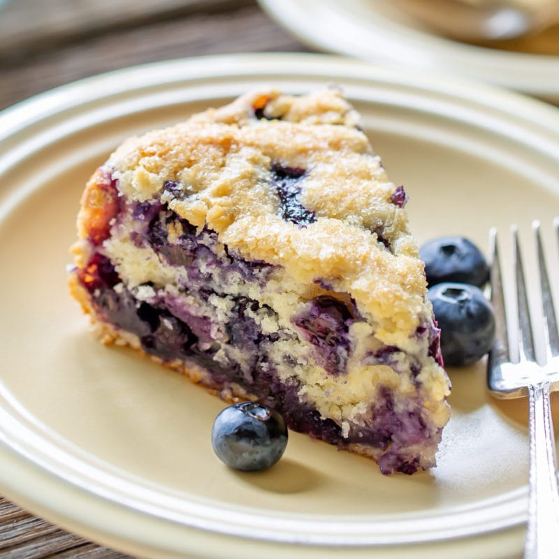 A slice of blueberry breakfast cake